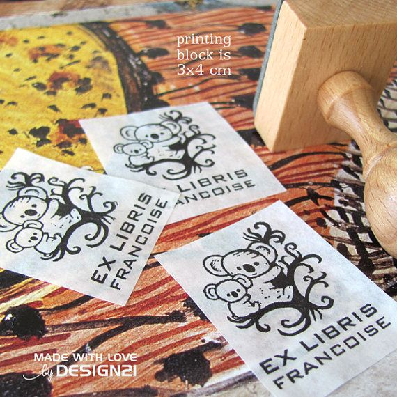 Koala bear: personalised rubber stamp 3x4 cm by lida21 on Etsy