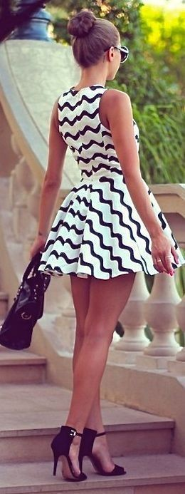 Black White Short Dress