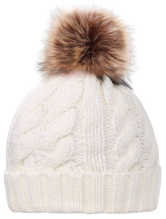 e42897dfdc2 Simplicity Men Women s Winter Hand Knit Faux Fur Pompoms Beanie Hat White  at Amazon Women s Clothing store