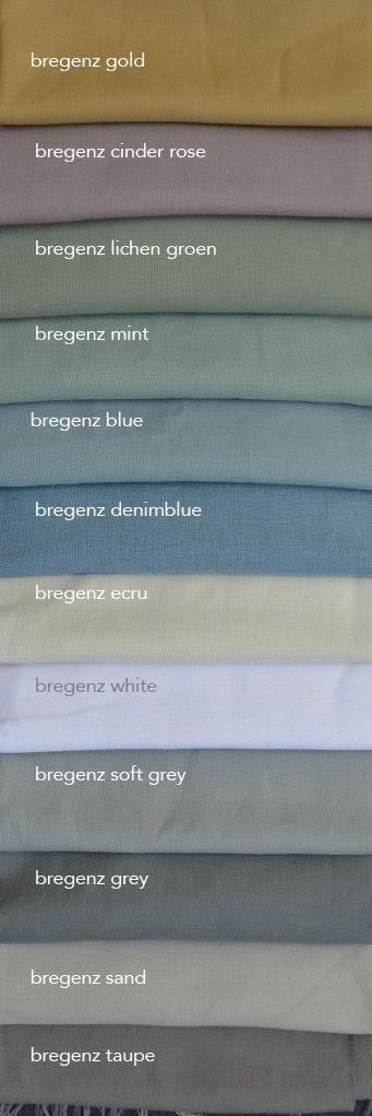 Ben jij op zoek stoere zware linnen gordijnen in kleur? Bregenz is een zware linnenmix stof met canvasbinding. Te koop in 140 breed en kamerhoog (dus naadloze gordijnen en vouwgordijnen). Wij maken ze helemaal op maat voor je. We sturen je graag stalen.