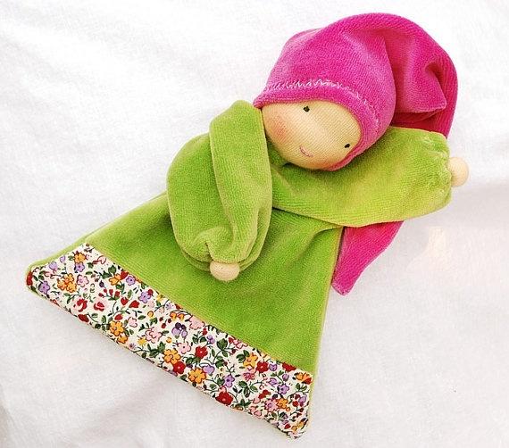 Waldorf Inspired blanket doll green pink soft doll by Juddolls, $28.00