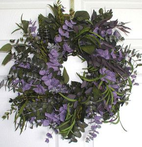 Patio/Outdoor: $50 Spring Wreath (how cute would this look with the trees and their twinkle lights next to it?!)
