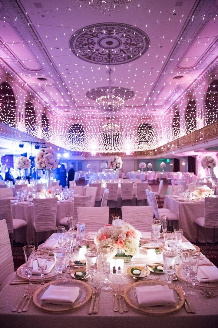 Photo: Elizabeth Craig Photography; glamorous ballroom wedding with magic of lights;
