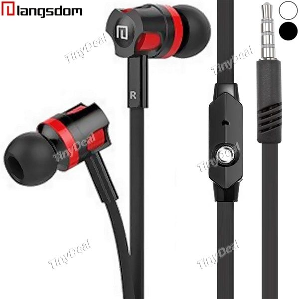 Langsdom In-ear Stereo 3.5mm Earphone Noise Isolation Earbuds with Mic Wire Control for iPhone Smartphone EEP-493517