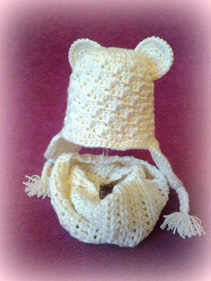 crochet baby beanie and scarf