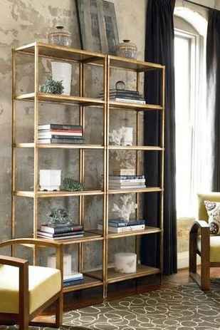 """Ikea Vittsjo Shelf from """"Blah"""" black to Gorgeous Gold w/spray paint! I've got to do this! ~Ways Spray Paint Can Make Your Stuff Look More Expensive"""