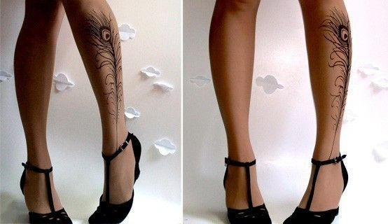 Panty hose with cute tattoo detail! :]