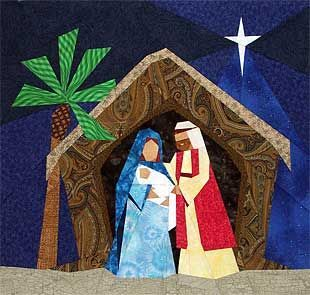 O Holy Night nativity quilt block paper pieced