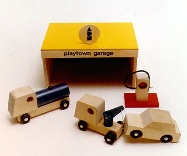 Painted wood Playtown Garage playset with lorry and tow trucks, United States, 1969, Creative Playthings.