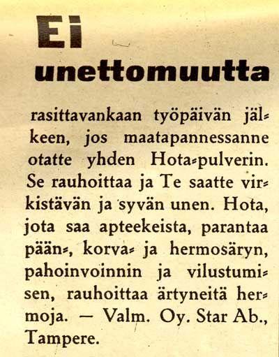 Hota-mainos - (SK 10/1936)