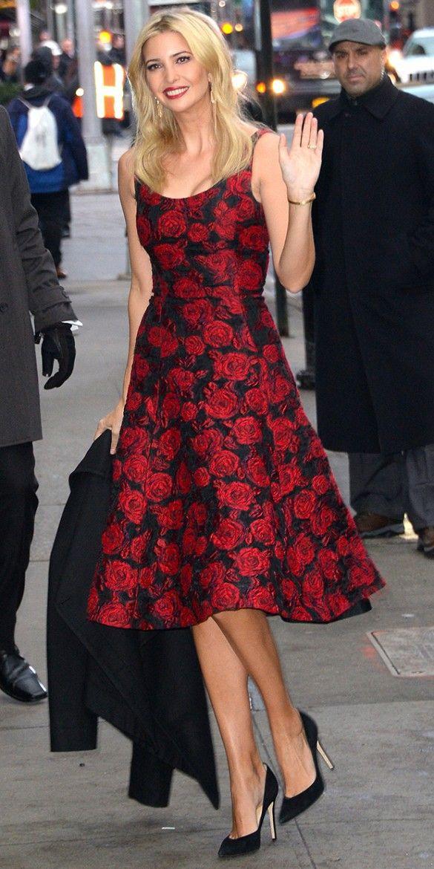 Ivanka Trump is picture perfect in this ladylike rose-print Oscar de la Renta dress and classic black pumps