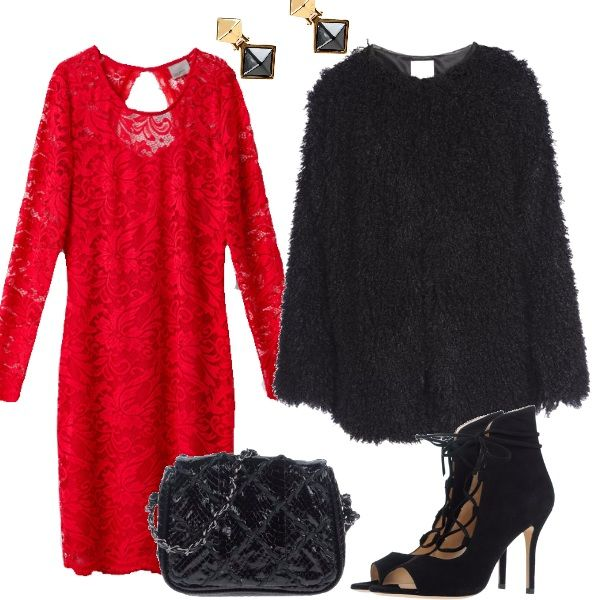 Per una serata importante durante le feste di fine anno, il rosso è d'obbligo, ecco il tubino in pizzo, accompagnato dalla finta pelliccia a pelo lungo, le scarpe alla caviglia, la pochette preziosa e semplici orecchini.