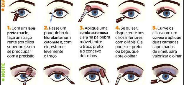 Maquiagem Passo a Passo: 5 passos para make do dia, 5 passos para make da noite.