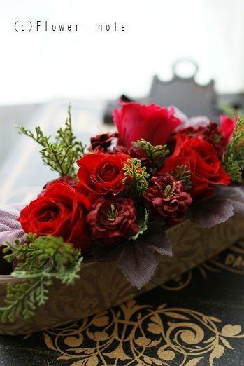 『秋の赤プチアレンジ』 http://ameblo.jp/flower-note/entry-11050033808.html