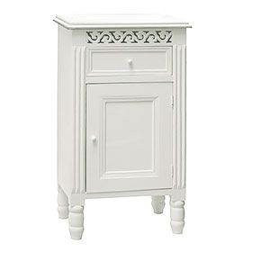 White bedside cabinet with cupboard and drawer