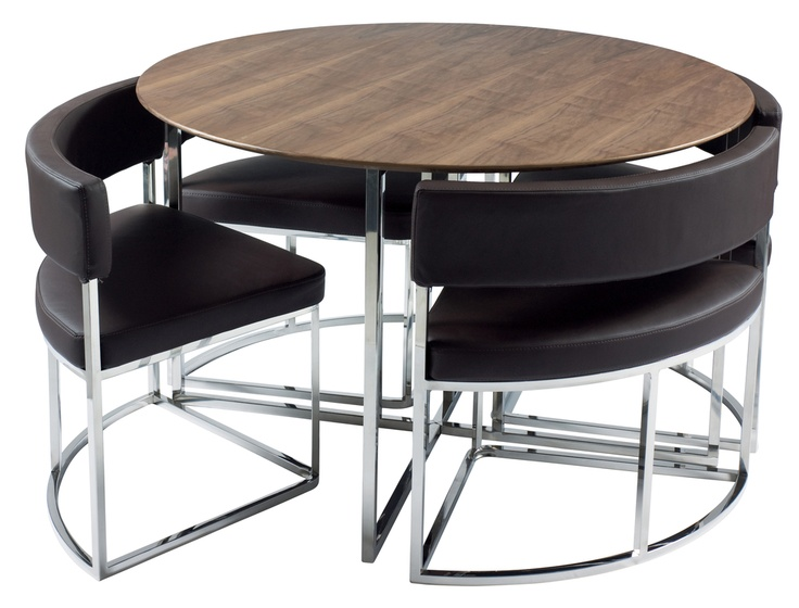Dwell   Orbit Dining Table U0026 Chairs: Walnut Veneer Table And Brown Leather  Chairs