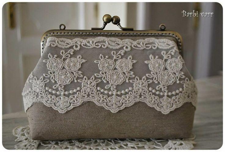 vintage purse with lace hand made Винтажный кошелек, бежевое кружево, ручная работа