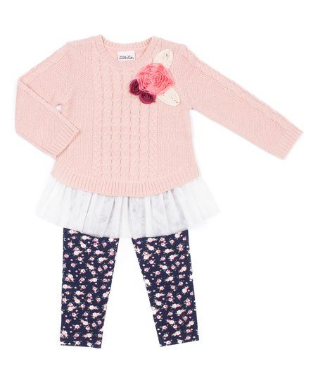 Little Lass Light Coral Sweater & Navy Floral Leggings - Girls | zulily