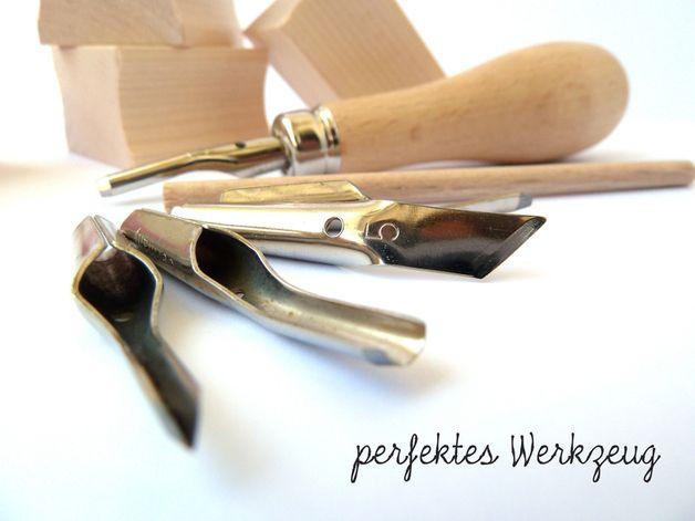 Werkzeugsets - Linolschnitz-Set, Linolwerkzeug, Schnitzmesser - ein Designerstück von Kritzelbude bei DaWanda