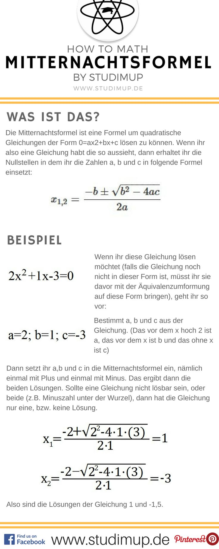 Mitternachtsfomrel einfach im Spickzettel erklärt. Einfach Mathe lernen für die Schule auf Studimup.