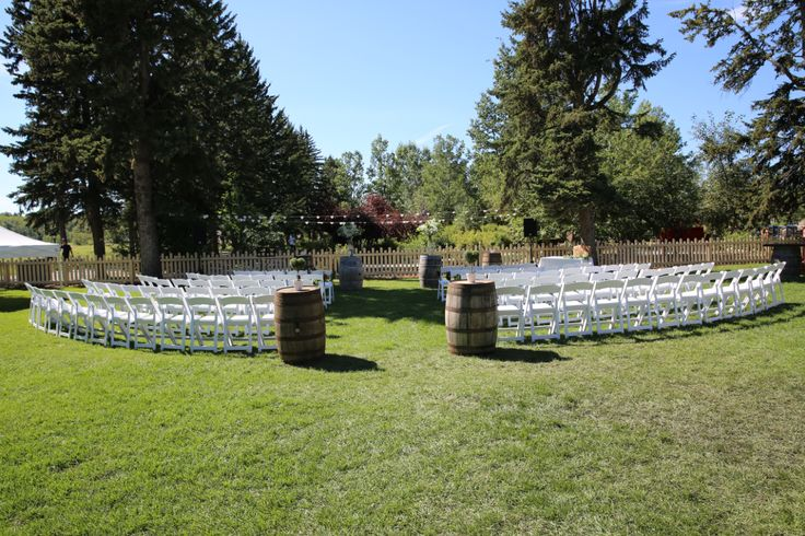 Ceremony in the park @rancheyyc Suzanne & Tyler Bishop Ceremony set up at #BowValleyRanche #rustic