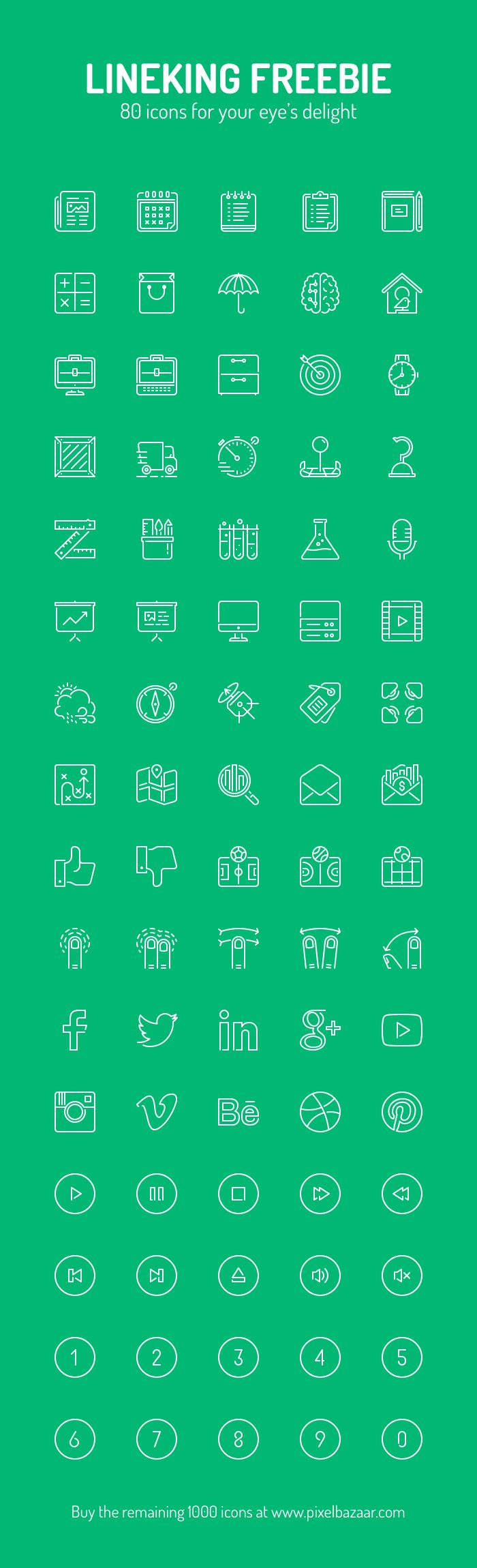 Icons truly make the world go round. The world wide web, that is. While the basic idea of the icon hasn't changed over the years, the amount of icons in use certainly has. Every website, and especially mobile apps, take full advantage of the icon graphic to get across a feature or function without the use of anything but a small graphic. This awesome set, from Pixel Bazaar, features 80 different high-quality professional icons to add to your site. Free for personal and commercial use!