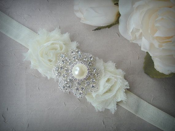 Ivory Elastic Baby Girl Head Band  Flower Head Band by TIdesigns, $12.75
