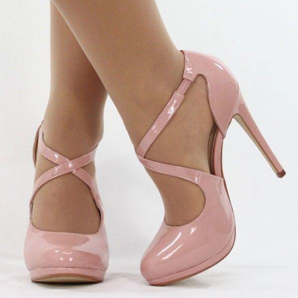 Jumex High Heels Pumps Mary Jane Lack alt rosa B8616