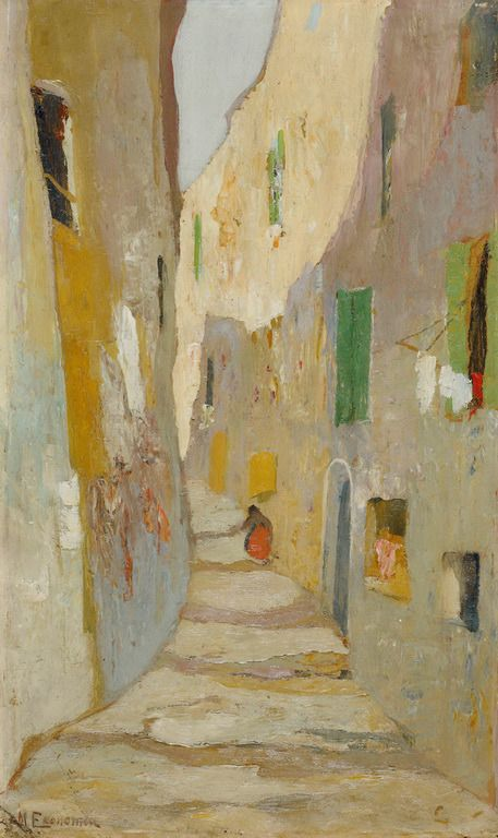 Street in old Marseilles - Michael Economou Οικονόμου Μιχαήλ-Δρόμος της παλιάς Μασσαλίας, 1920-25