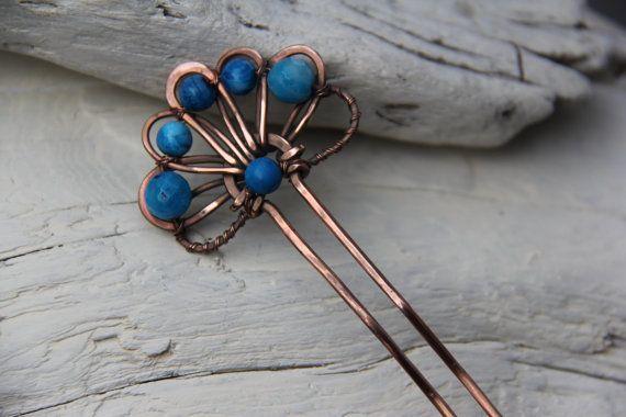 Blue legend copper and agate hair pin, hair fork, hair comb, hair barrette, hair stick