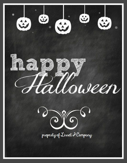 Elegant Happy Halloween Chalkboard Style Instant Download Via Etsy