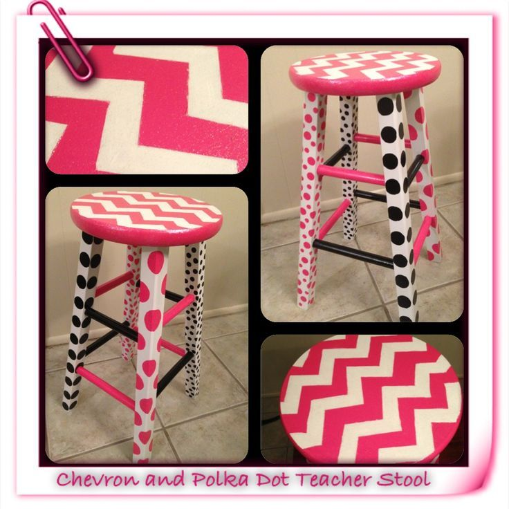 Chevron and polka dot teacher stool! The top of the stool is coated with three coats of sparkle mod podge. I first spray painted the stool with a paint/primer. I then taped the chevron pattern. I used foam sponges to make the dots and touched them up by hand. I used glossy spray varnish to finish the stool.