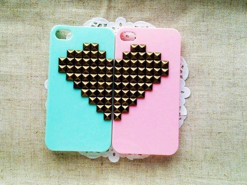 Bronze Pyramid Stud Mint Green And Pink Heart iPhone 4/4S Cases for Girls