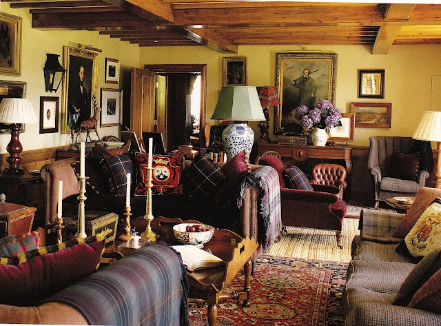 Tartan, tweed & leather. interior design decor.  http://www.annabelchaffer.com/