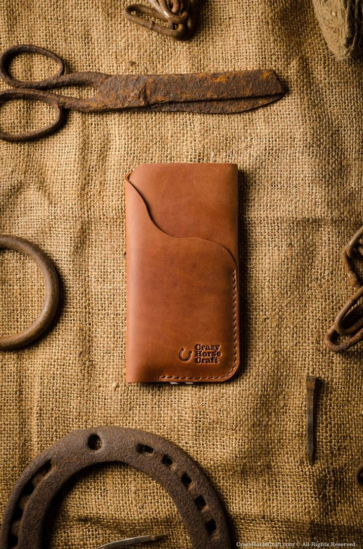 iPhone 7 Leather Cover wallet with card pocket, Classic Orange, front