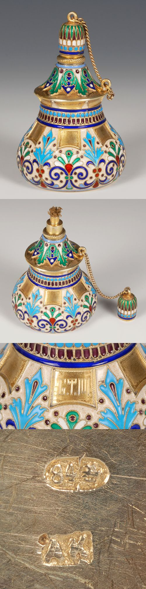 A russian silver gilt and cloisonne enamel table lighter for Table moscow