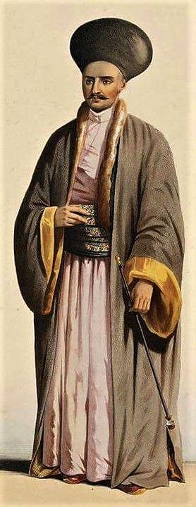 Varlıklı bir Osmanlı Ermenisi, 1840'lar. / A (upper-class) Ottoman Armenian man, 1840s.