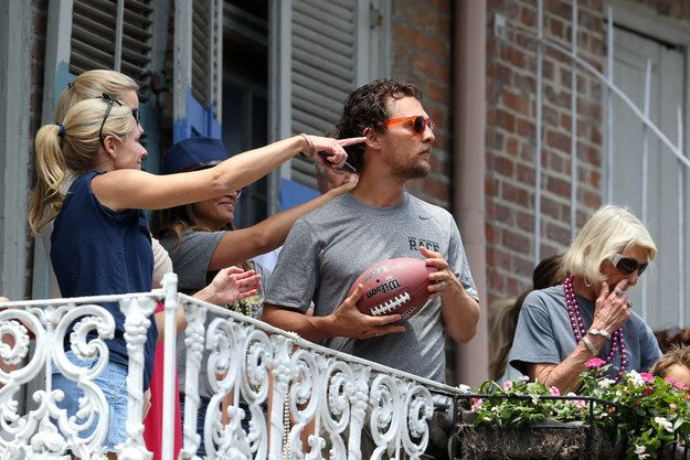 Matthew McConaughey was in New Orleans when his family started pointing in the direction across the street and he wondered why. | Brad Pitt Tosses A Beer To Matthew McConaughey Upon Realizing They Are Neighbors