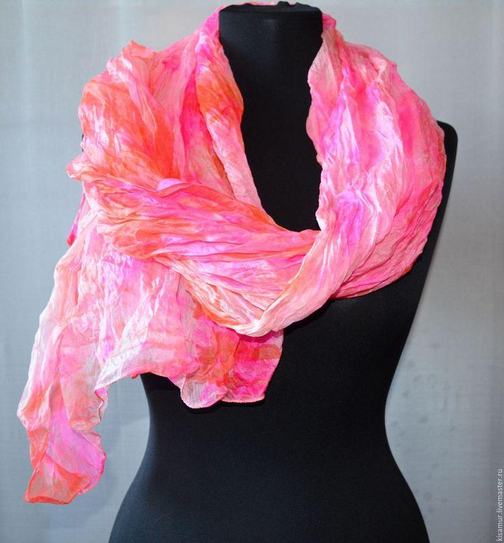 Купить оранжево розовый женский шелковый шарф палантин, - шарф цветной, шарф разноцветный