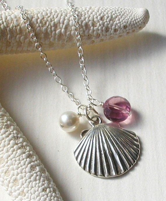 Shell Necklace, would be fun with real shell, and bronze gold or silver spray, or just as is