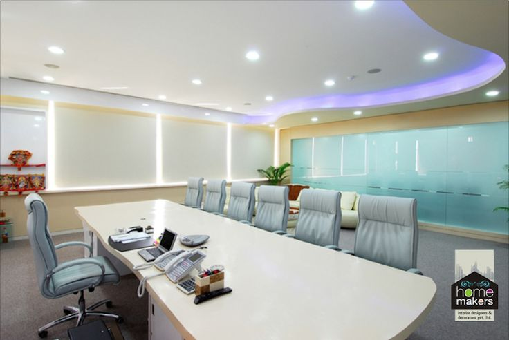 The right mix of colours, indirect lighting and scintillating ceiling lights can make a great studio, an example being this wonderful conference room. Soothing and calm colours bring the right mood to conduct a meeting here.  This is home makers. Give us anything and we will prove ourselves.