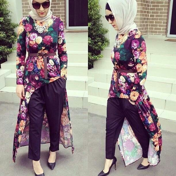 Hijab House floral dip hem maxi top/dress