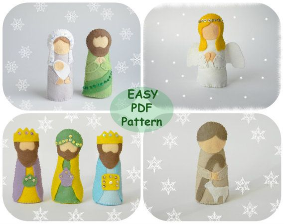 This listing is for the PDF pattern and tutorial of felt toys: Mary witch Baby Jesus, Joseph, 3 Wise men, Shepherd, Angel Included in this 35 page PDF file: - List of materials needed - Full size pattern pieces - Step by step Instructions with full-color photos - Tutorials for required stitches Details: - finished size approx. 4.5 - Hand-sewn - Pattern Language - English - Level of difficulty: beginner . This is a digital download, not a physical product. You will receive an immed...
