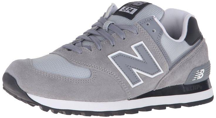 New Balance Men's ML574 Core Plus Fashion Sneakers, Black/Grey, 6.5 D US
