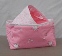 Pink nursery print storage baskets, set of 2