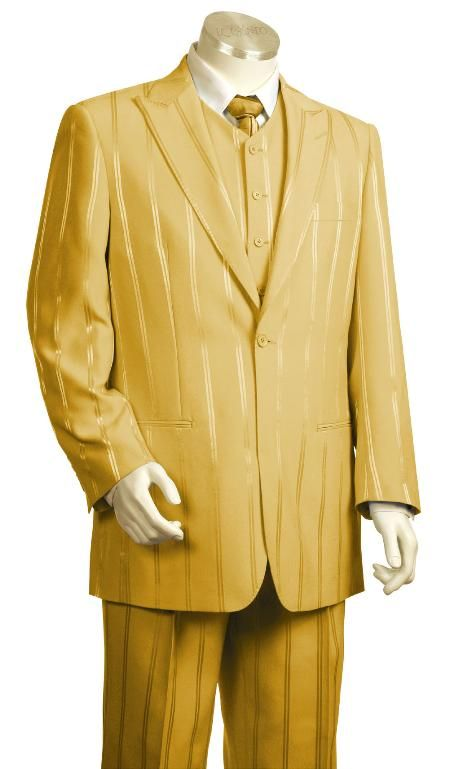 SKU#BT7754 Mens 3 Piece Vested Fashion Gold Suit $175   https://www.facebook.com/officialHouseofyahweh