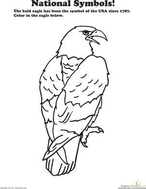 Preschool National Symbols Animals Worksheets: USA National Animal