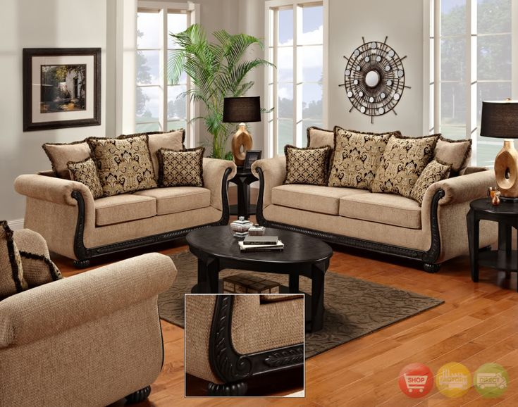 Beautiful Delray Traditional Sofa U0026 Love Seat Living Room Furniture Set Taupe  Chenille NEW Part 25