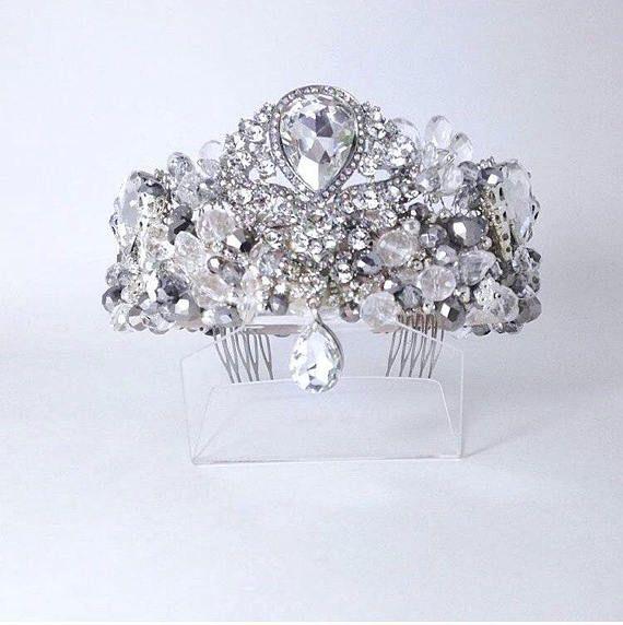 Tiaracrownheadpieceheadband wedding tiaraSilver bridal