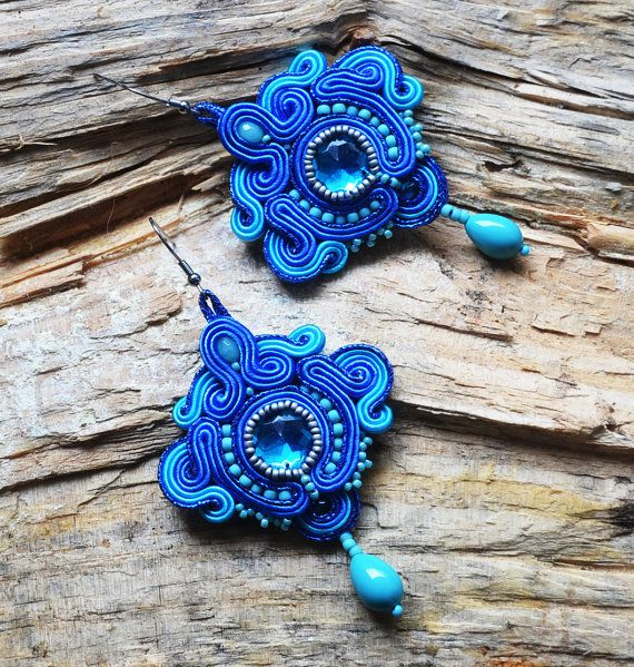 Blue dangle long earrings large earrings blue jewelry by QlkaArt